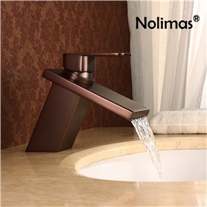 Waterfall Widespread Basin Faucet Brass Single Handle Single Hole Cold Hot Wate Mixer Tap Deck Mount Bathroom Basin Sink Faucet