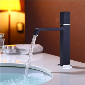 Black waterfall basin faucet tall stand basin mixer black oil brushed basin faucet sink Mixer Tap bathroom faucet MJ097