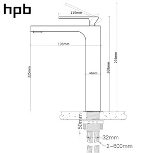 HPB Square Style Tall Basin Faucet Water Tap Chrome Finished Bathroom Sink Mixer Single Handle Hot And Cold HP3132
