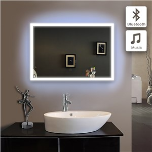 Bluetooth ILLUMINATED LED bath mirrorWall IP44 E102B 90-240v 70x60cm in bathroom piegel badkamer GLASS MIRROR Bathroom mirror
