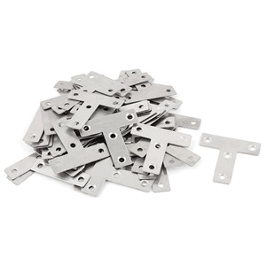 50mm Flat T Shape stainless steel Corner Braces Angle Brackets Silver Tone 50pcs