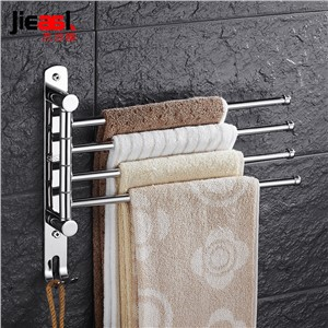 Stainless Steel Towel Brand Swing Towel Rack Wall Mount Swivel Towel Holder Rail Bathroom Rotating 3 Arm Towel Bar with Hooks
