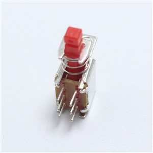 EClyxun 5pcs A03-01 6pin TV Power Switch With Spring Self-locking Red DC 12V 50MA Unidirection Push-button Switch