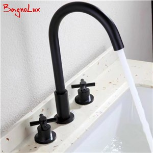 Bagnolux 100% Solid Brass Newest Simple Design Deck Mount Widespread Faucet Matt Black Bathroom Double Cross Handle Basin Tap