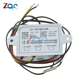 XH-W3001 W3001 Temperature Controller Digital LED Temperature Controller Thermometer Thermo Controller Switch Probe DC 12V