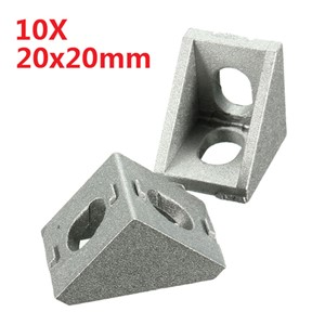 10Pcs Aluminum Brace Corner Joint Right Angle Bracket Joint L Shape 20x20mm New Grey Furniture Fittings