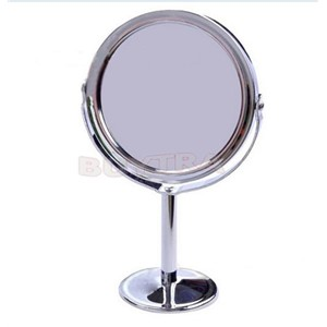 Make Up Mirrors Stainless Steel Holder Cosmetic Bathroom Double-Sided Desk Makeup Mirror Dia 8cm Women Home Office Use 1PCS