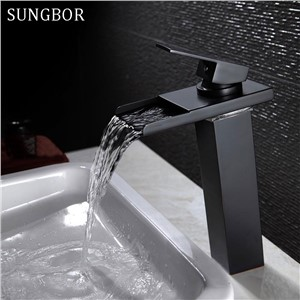 Black Water Powered LED Faucet Bathroom Basin Faucet Brass Mixer Tap Waterfall Faucets Hot Cold Crane Basin Tap AL-7193H