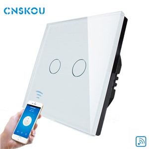 Cnskou Manufacturer Wifi Touch Switch, LED Light Wall Smart Home Remote Control EU Switch,2 Gang 1 Way Luxury Glass Panel