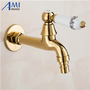Golden Polish Copper Carved Faucet Washing Machine Faucet Outdoor Faucet Single Cold Tap Garden Bibcock Mop Faucets 1015G