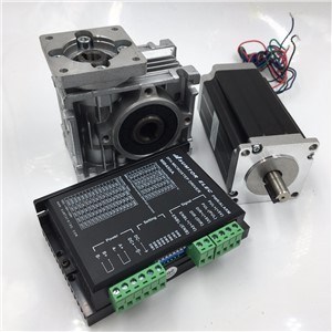 10:1 Worm Reducer Nema23 Stepper Motor L56MM 3A 11N.m Worm Gearbox 2ph Stepper + DC24-50V Stepper Driver Kit