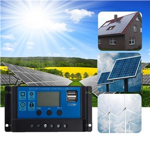 PWM 10/20/30A Dual USB Solar Panel Battery Regulator Charge Controller 12/24V LCD Solar Controllers Drop Ship