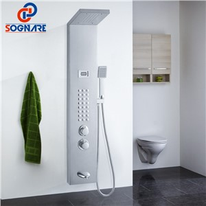 SOGNARE Rain Waterfall Shower Panel Wall Mounted Thermostatic Shower Faucet with Hand Shower Tub Spout Tower Shower Column