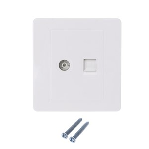 1Pc RJ45 Network Adapter+TV Antenna Coaxial Wall Mount Output Faceplate Panel Socket