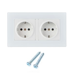 16A Wall Socket Double EU Standard White Glass Panel Power Outlet Charger