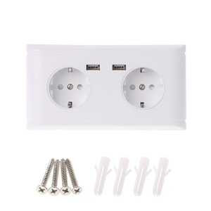 16A WallDouble Socket Charger Adapter Double USB Ports EU Plug Power Outlet Panel