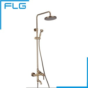 Antique Bronze Round Luxury Spa Overhead Shower Faucet Mixer Set, robinet de baignoire Faucet Shower Set
