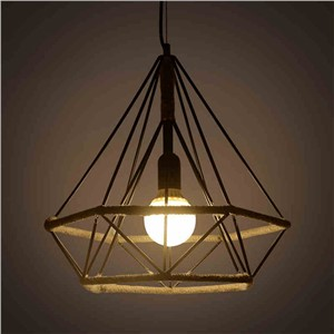 Retro Vintage Retro Pendant Light Lamp Hand Knitting Rope Iron Diamond Lamp E27 Edison Bulb For Loft Restaurant Home Decor