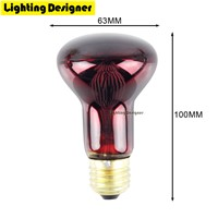 R63 40W 60W Red Heat Lamp Bulb Infrared Heating Lamp Spot Basking Bulb Reptiles Spotlight Bulb Helps Maintain Animal Warmth 220V