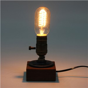Retro Style Vintage Industrial Single Socket Table Bedside Desk Lamp Wooden Base Creative Edison Light Bulb