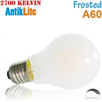 4W 6W 8W Vintage Warm White E26 E27 Medium Screw Based Frosted Fogy A60 Standard Shape Dimmable LED Filament Edison Light Bulb