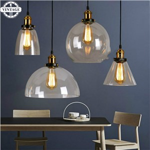 Antique American country Pendant Lights Amber Glass Hanging Bell Pendant Lamp E27 Edison Light Bulb Dinning room Home Decoration