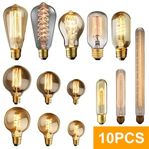 10pcs Edison Bulb Lamp Light Vintage Socket 40W 220V Indoor Lighting Rope Pendant Lamp Retro Edison E27 G80 Incandescent Bulbs