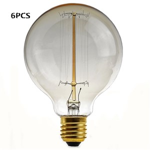 Uncleahtoh 6PCS/LOT G95 40W E26 2700K Light Nostalgic Edison Globe with Tungsten Filament Lamp