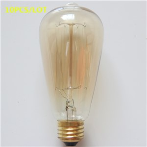 Uncleahtoh 10PCS/LOT ST64 E26 E27 360 Edison vintage Lamp Tungsten Filament Lamp Transparent/Gold Glass Bulb For Home Decoration
