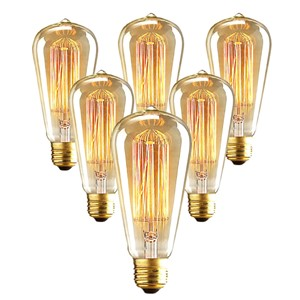 2/6 PCS 40/60W Vintage Light Bulb Tungsten Filament Light E27 Edison Tears Style - Squirrel Cage