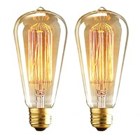2PCS/LOT Uncleahtoh ST64 Bulb 40/60W Tungsten Filament Glass  Vintage Bulb E26 E27 Retro Old Fashion Edison Style