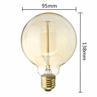 Uncleahtoh G95 vintage Edison Globe Antique Light Bulbs Thread Filament Style Nostalgic Light Bulbs