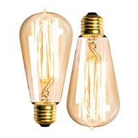 Amber Edison E27 Straight Filament Lamp 110V 40W Light Bulb ST58 Flame Globe  incandescent bulb