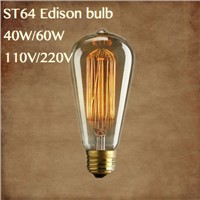 lightinbox 40w/60W edison light bulb filament  ST64 110v/220v E27/E26 incandescent light bulbs Edison retro lamp vintage bulb