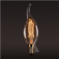 110V/220V Lightinbox  LED Incandescent Tailed Tungsten Bulb Light Lamp  Edison Carbon Filament Vintage Candle Flame Bubble Lamp