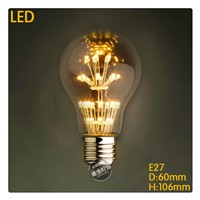 Sample order A19 LED star 110V 220V 3W LED Christmas Antique Retro Edison Bulb Pendant Lamp Vintage glass bulbs for Chandelier