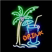 "17*14"" DRINK TREE CUP NEON SIGN Signboard REAL GLASS BEER BAR PUB  Billiards display  Restaurant  Shop christmas Light Signs"