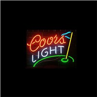 "17*14"" COORS LIGHT GOLF outdoor NEON SIGN Signboard REAL GLASS BEER BAR PUB  Billiards  store display  Restaurant  Shop Signs"