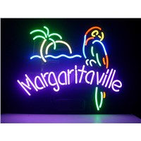 NEON SIGN For  JIMMY BUFFETT MARGARITAVILLE PARADISE PARROT  Signboard REAL GLASS BEER BAR PUB  display    Light Signs 17*14""