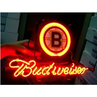 Business NEON SIGN board For BOSTON BRUINS HOCKEY FOOTBALL Basketball Real GLASS Tube BEER BAR PUB Club Shop Light Signs 17*14""