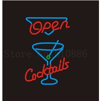 Custom Signage NEON SIGNS For Open Cocktails Beer Wines Club BAR PUB Signboard Display Decorate Store Shop Light Sign 24*20""