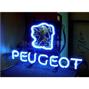 NEON SIGN board For Peugeot Car Brand Garage Real GLASS Tube BEER BAR PUB  store display  Business Shop Light Signs 17*14""