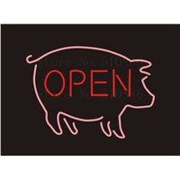 NEON Sign BBQ Pig Meats Barbecue Real GLASS Tube Bar Club PUB Signboard Display Store Shop Restaurant Light Custom Signs 17*14""