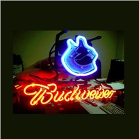 Business NEON SIGN board For  VANCOUVER CANUCKS BUDWEISER FOOTBALL  REAL GLASS Tube BEER BAR PUB Club Shop Light Signs 17*14""