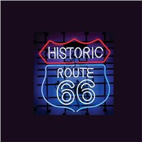 "17*14""  HISTORIC ROUTE 66  NEON SIGN Signboard REAL GLASS BEER BAR PUB  Billiards display  Restaurant  Shop outdoor Light Signs"
