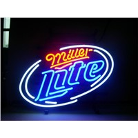 NEON SIGN For MILLER LATE  Signboard REAL GLASS BEER BAR PUB  Billiards display  Restaurant  Shop christmas Light Signs 17*14""