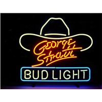 NEON SIGN For GEORGE STRATT BUD LIGHT SIGN Signboard REAL GLASS BEER BAR PUB  display   outdoor Light Signs 17*14""
