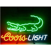 NEON SIGN For  coors light crocodile SIGN Signboard REAL GLASS BEER BAR PUB  display Restaurant  christmas Light Signs 17*14""
