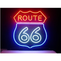 NEON SIGN For ROUTE 66  SIGN Signboard REAL GLASS BEER BAR PUB  display   outdoor Light Signs 17*14""