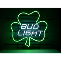 NEON SIGN For BUD LIGHT LUCKY SHAMROCK SIGN Signboard REAL GLASS BEER BAR PUB  display   christmas Light Signs 17*14""